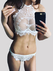 White See-through Halter Lace Lingerie Set without Stockings