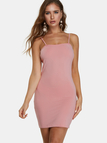 Pink Spaghetti Off Shoulder Bodycon Mini Party Dresses