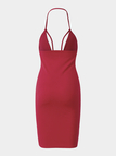 Red Deep V Spaghetti Strap Bodycon Mini Dress
