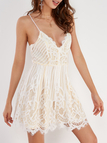 Sexy V Neck Lace-up Back Strappy Lace Dress in White