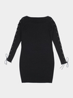 Black Round Neck Lace-up Long Sleeves Bodycon Dress