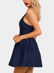 Navy Spaghetti Scoop Neck Open Back Sleeveless Mini Dress