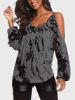 Grey Contrast Printed Cold Shoulder Long Sleeves Curved Hem Casual T-shirt