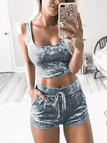 Grey Velvet Two Piece Outfits