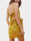 Yellow Random Calico Tie-up Design Slip Dress