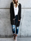 Black Hooded Design Open Front Large Pockets Long Sleeves Reversible Cardigan