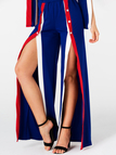 Blue Button Design Sexy High Slit Two Piece Outfits