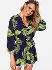 Black Button Design Random Leaf Print V-neck Long Sleeves Playsuit