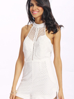 White Sleeveless Mesh and Lace Overlay Details Playsuit