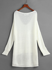White V-neck Irregular Hem Plunge Jumper