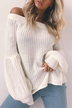 White Off The Shoulder Lantern Long Sleeves Knitted Sweaters