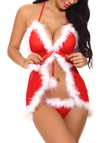 Red Halter Faux Fur Backless Christmas Pajama