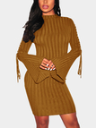 Brown Lace-up Bell Sleeves Round Neck Midi Dress