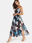 Black Leaf Print V-neck Sleeveless Tie-up Design Slit Maxi Dress