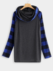 Blue Stitching Design Grid Piles Collar Long Sleeves Sweatshirts