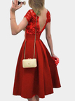 Red Lace Insert Tight Waist V-neck in Back Midi Dress
