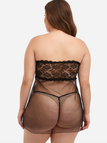 Plus Size Black Mesh Strapless Babydoll With Thong