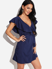 Navy V-Neck Flounced Design Self-tie Waist Mini Dress