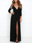Black Front Slit Low Cut V-neck Long Sleeves Maxi Dress