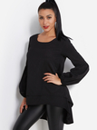 Black Tiered Design Round Neck Lantern Sleeves Blouse With High-low Hem