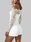 White Lace Off Shoulder Playsuits with Belt