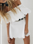 White Sexy Off Shoulder Pencil Scallop Dress
