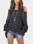 Grey Off The Shoulder Long Sleeves Loose Plunge Sweaters