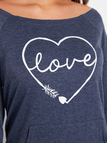 Navy LOVE Letter Front Pocket Scoop Neck Long Sleeves T-shirts