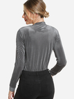 Grey V-neck Long Sleeves Knitted Velvet Top