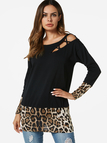 Black Cut Out Leopard Stitching T-shirts