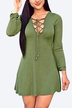 Army Green V Neck Lace-up Fashion Party Dress