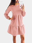 Pink Round Neck Long Sleeves Mini Dress
