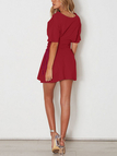 Burgundy Lace-up Side Short  Sleeves Mini Dress
