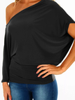 Black Pleated Design One Shoulder T-shirt