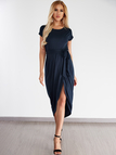 Navy Self-tie Design Irregular Hem Dress