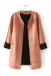 Crew Neck Stitching Duster Coat with Pocket
