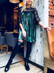Green Lace Insert Pleated Design Long Sleeves Dress