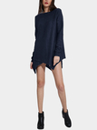 Navy Round Neck Irregular Hem Sweater Dress