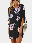 Navy Random Floral Print Self-tie at Sleeves Mini Dress