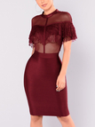 Crimson See-through Lace Insert Flap Over Detail Short Sleeves Midi Dresses