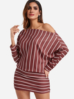 Burgundy Stripe Off The Shoulder Dolman Sleeves Dress
