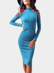Blue Embroidered Crew Neck Long Sleeves Dresses