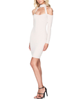 Sexy Halter Cold Shoulder Long Sleeves Mini Dress with Cream