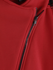 Loose Red Zipper Pocket Front Removable Hooded Coat