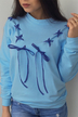 Blue Lace-up Design Round Neck Long Sleeves Sweatshirt