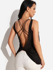 Sexy Black Round Neck Backless Tank Top