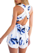White Chiffon Criss Crossed Back  In Floral Print Playsuit