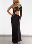 Black One Shoulder lace Insert Cutout Waist Slit Hem Dress