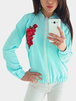 Light Blue Embroidered Long Sleeves Bodycon Hem Outerwear