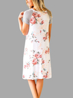 Random Floral Print Round Neck Stripe Stitching Dress in White
